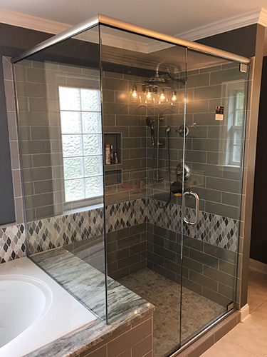 designs and traditional framed bathroom doors both types can be installed with brushed nickel silver oil rubbed bronze or polished brass trim